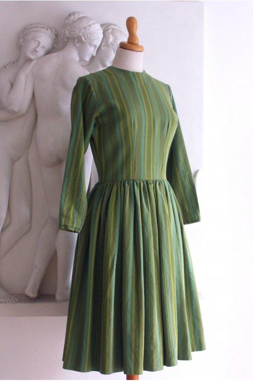 Grøn 1960er kjole med striber